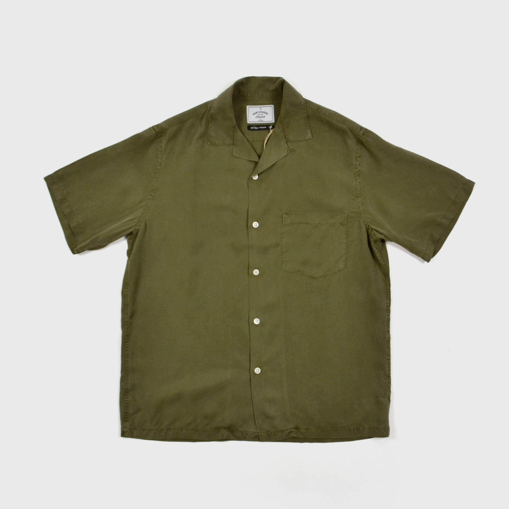 Portuguese Flannel Dogtown Shirt Olive Front