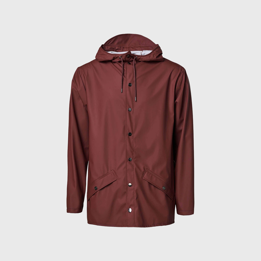 Rains Classic Waterproof Jacket - Maroon Front View