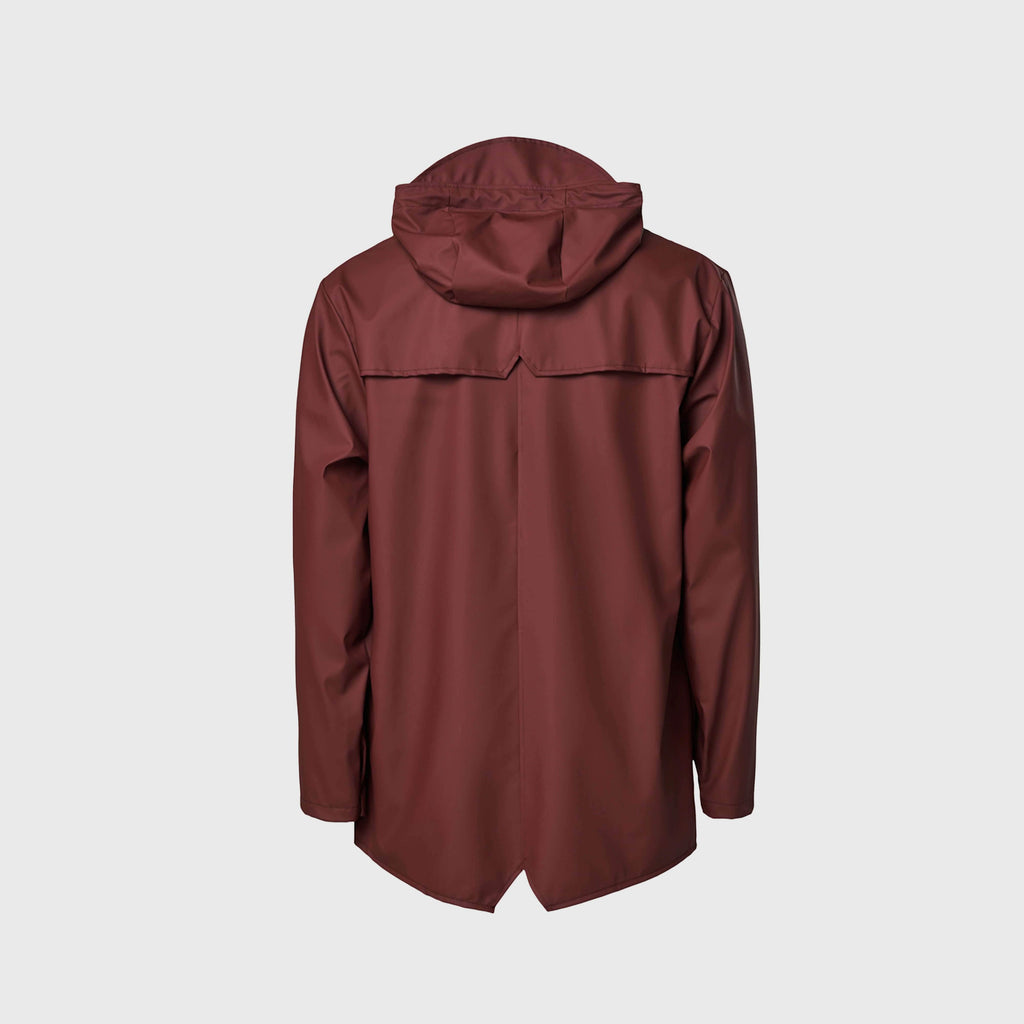 Rains Classic Waterproof Jacket - Maroon Back View