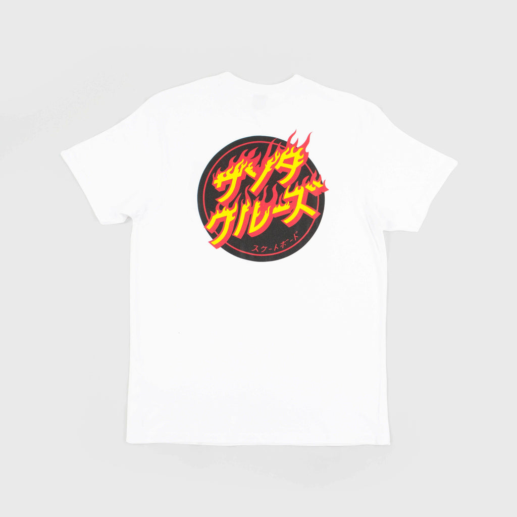 Santa Cruz SS Flaming Japanese Dot Tee - White Back View