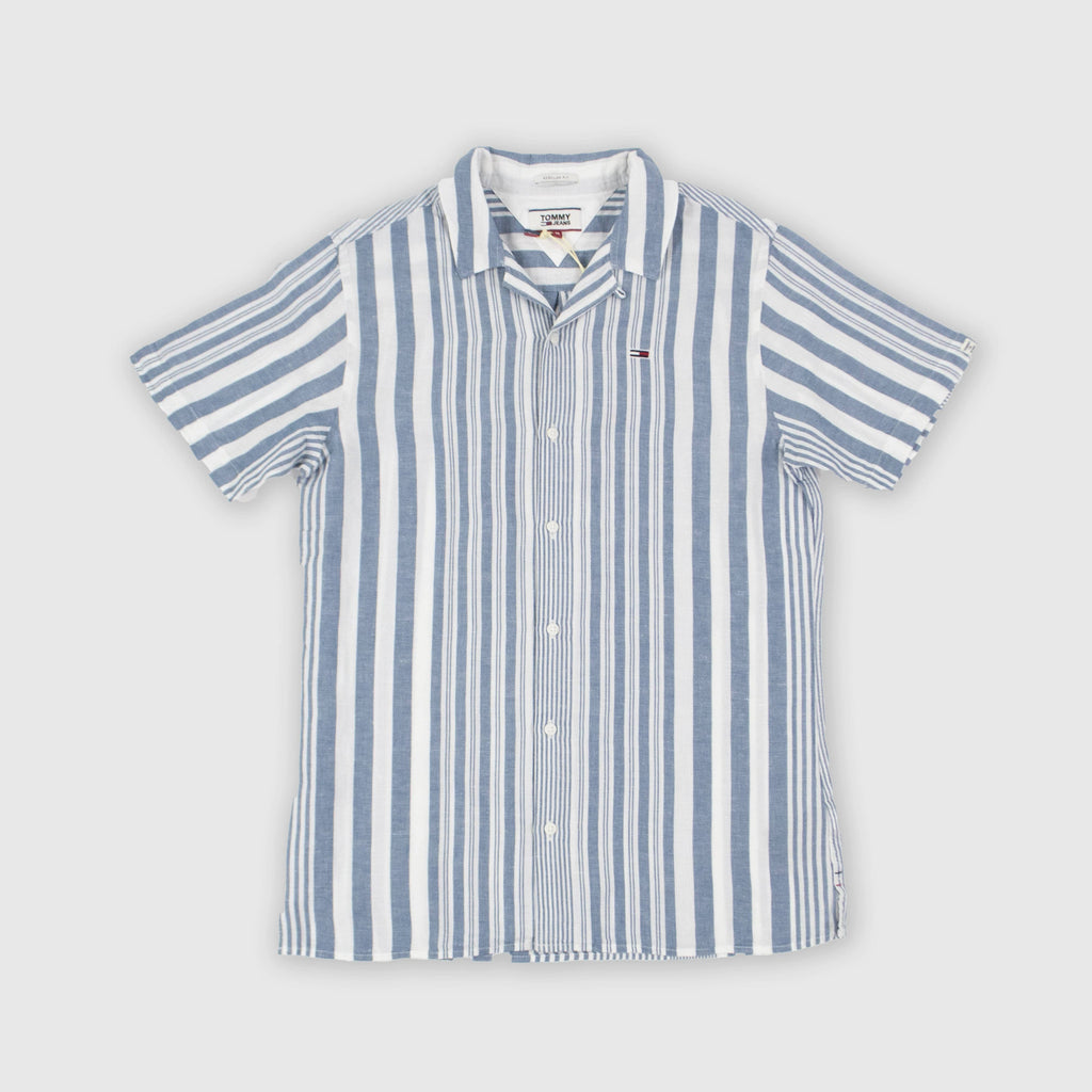 Tommy Jeans SS Stripe Camp Shirt - Audacious Blue Stripe Front