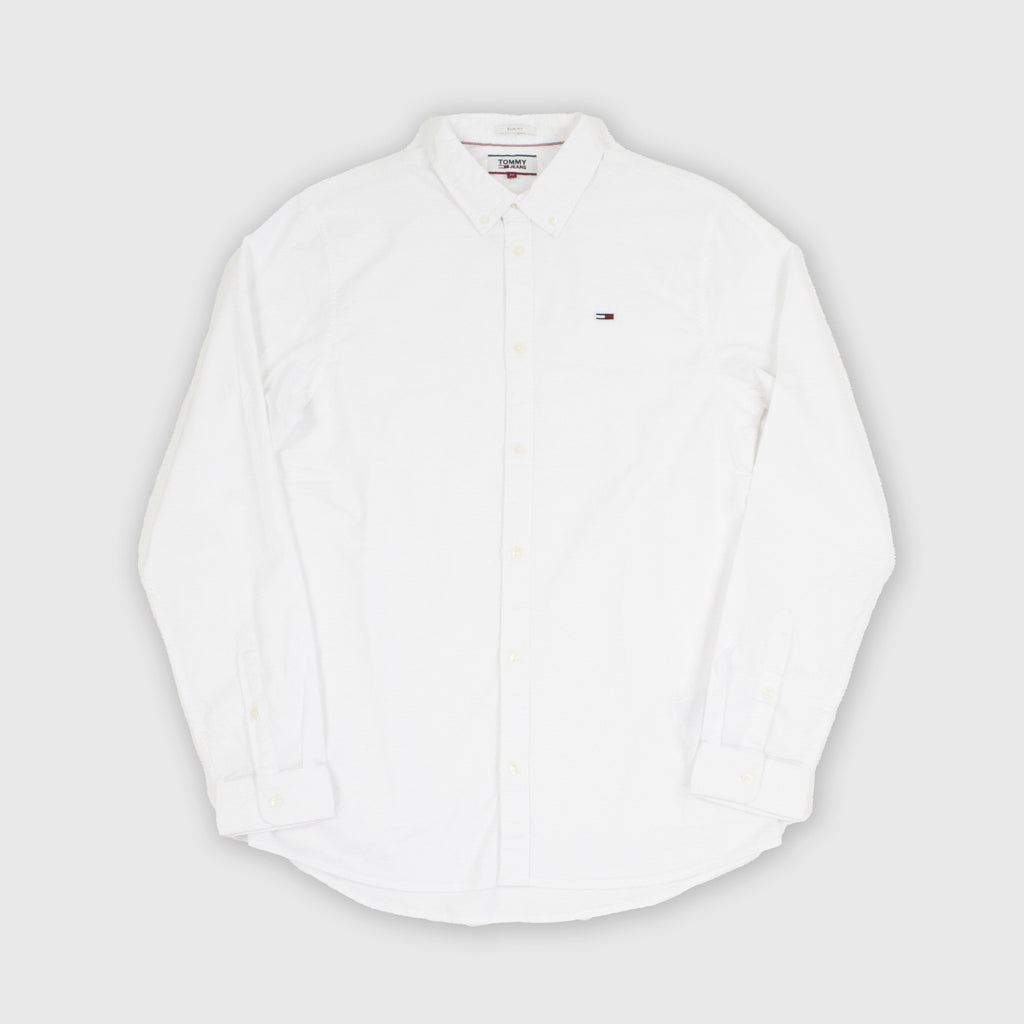Tommy Jeans LS Stretch Oxford Shirt - Classic White Front
