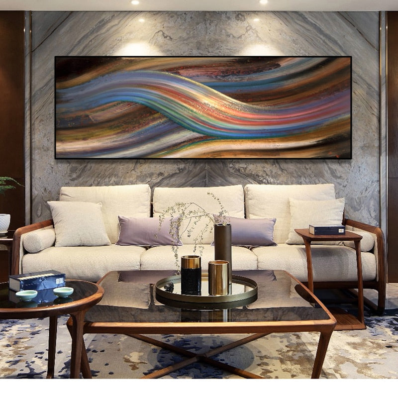 Modern Abstract Rainbow Oil Painting on Canvas Posters and Prints Wall Art Painting Abstract Ribbon Picture for Living Room Deco
