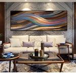 Laden Sie das Bild in den Galerie-Viewer, Modern Abstract Rainbow Oil Painting on Canvas Posters and Prints Wall Art Painting Abstract Ribbon Picture for Living Room Deco