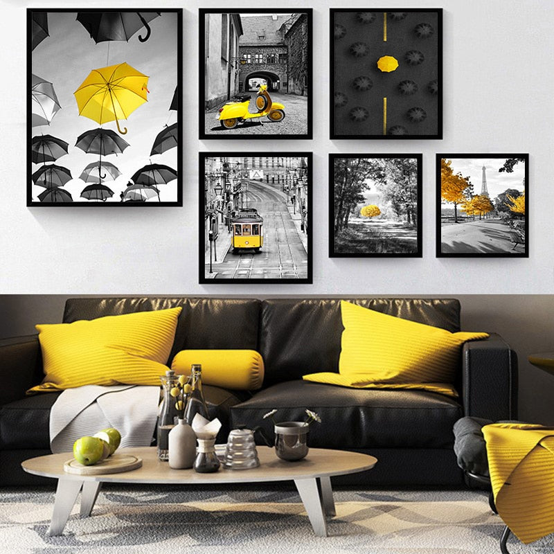 Photograph European Landscape Picture Home Decor Nordic Canvas Painting Wall Art Yellow Style Scenery Poster for Living Room