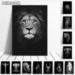Carica l'immagine nel visualizzatore di Gallery, Canvas Painting Animal Wall Art Lion Elephant Deer Zebra Posters and Prints Wall Pictures for Living Room Decoration Home Decor