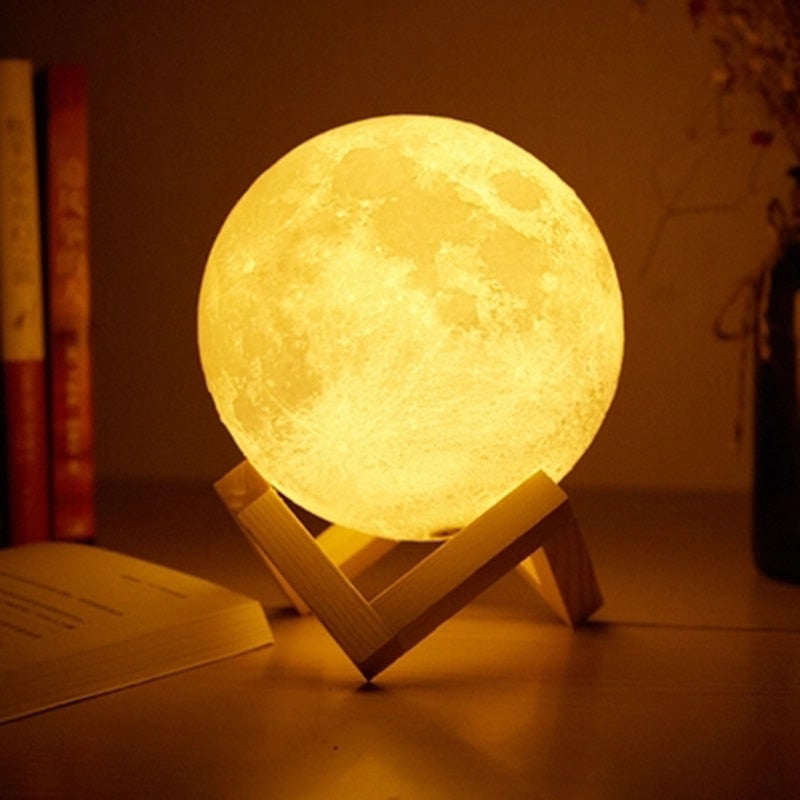 Foxanon Touch Sensor Light Bedside Lamp USB 3D Print Moon Lamp Lights Bedroom Romantic Table Lamps 2/16 Color Change Home Decor