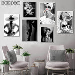 Charger l'image dans la galerie, Fashion Wall Art Black White Underwater Woman Print Sexy Female Poster Canvas Art Beauty Wall Picture Painting Modern Home Decor