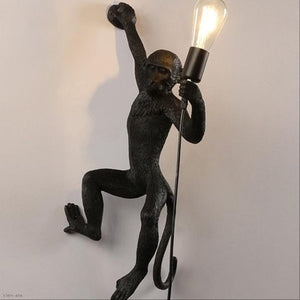 modern Black White Gold Monkey Lamp Pendant Lights Art Parlor hanging lamp for Study Room Led Lights lustre With E27 Led Bulb
