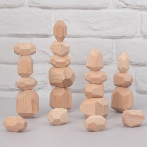 Montessori Educational Wooden Colored Stone Jenga Building Block Toy Creative Nordic Style Stacking Game Rainbow Wooden Toy Gift