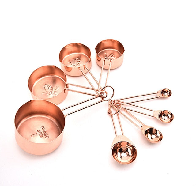 8PCS Stainless Steel Measuring Spoons Set Rose Gold Measuring Cups Kitchen Accessories Baking Tea Coffee Spoon Measuring Tools