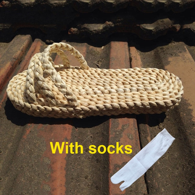 Hand Made Japanese Chinese Traditional Shoes Adult Unisex Woman Straw Sandals One Piece Luffy Cosplay Slippers Free Socks