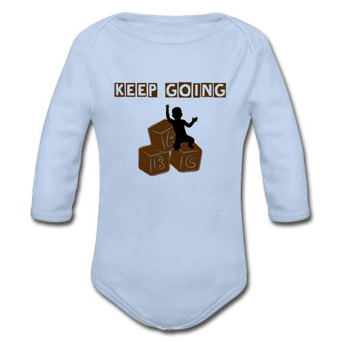 Organic Long Sleeve Baby Bodysuit = Keep Going - sky