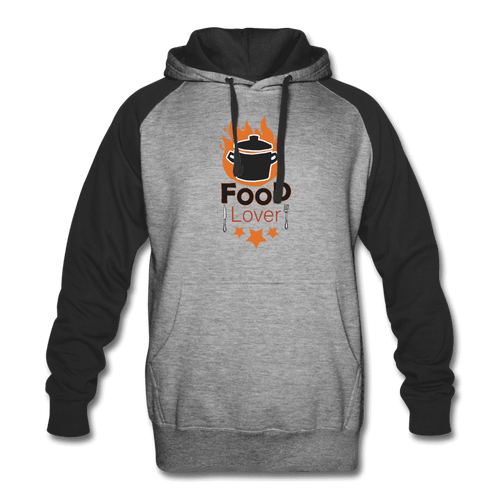 Colorblock Hoodie = Food Lover - heather gray/black