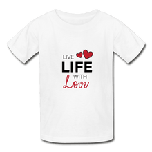 Hanes Youth Tagless T-Shirt = Live Life With Love - white