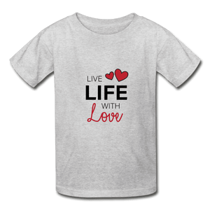 Hanes Youth Tagless T-Shirt = Live Life With Love - heather gray
