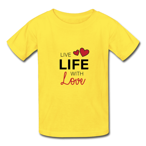 Hanes Youth Tagless T-Shirt = Live Life With Love - yellow