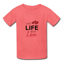 Hanes Youth Tagless T-Shirt = Live Life With Love - coral