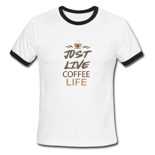 Men's Ringer T-Shirt = Just Live Coffee Live - white/black