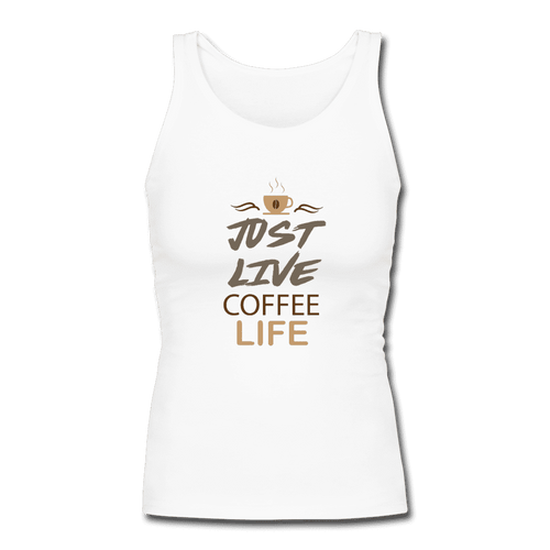 Women's Longer Length Fitted Tank = Just Live Coffee Live - white