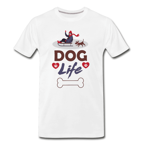 Men's Premium Organic T-Shirt = Dog Life - white