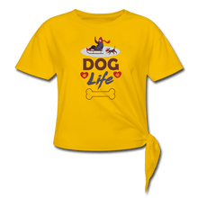 Women's Knotted T-Shirt = Dog Life - sun yellow