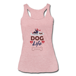 Women's Tri-Blend Racerback Tank = Dog Life - heather dusty rose