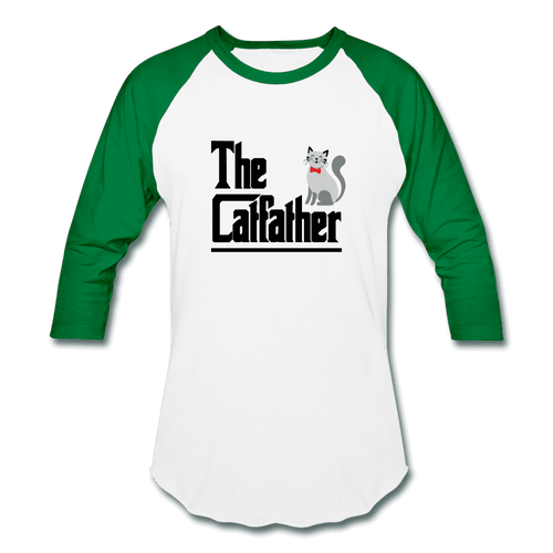Baseball T-Shirt = The Catfather - white/kelly green