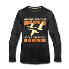 Men's Premium Long Sleeve T-Shirt = Duck Hunting-Beer Drinking - charcoal gray