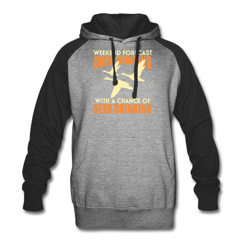 Colorblock Hoodie = Duck Hunting-Beer Drinking - heather gray/black