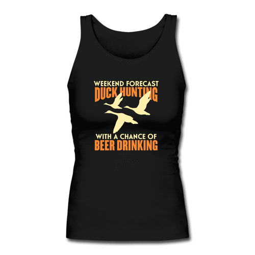 Women's Longer Length Fitted Tank = Duck Hunting-Beer Drinking - black