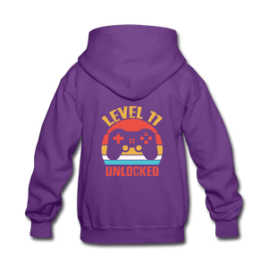 Kids' Hoodie = Level 11 Unlocked - purple