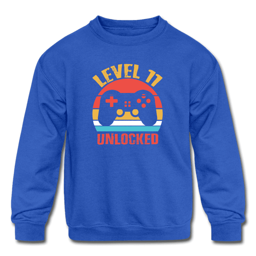 Kids' Crewneck Sweatshirt = Level 11 Unlocked - royal blue