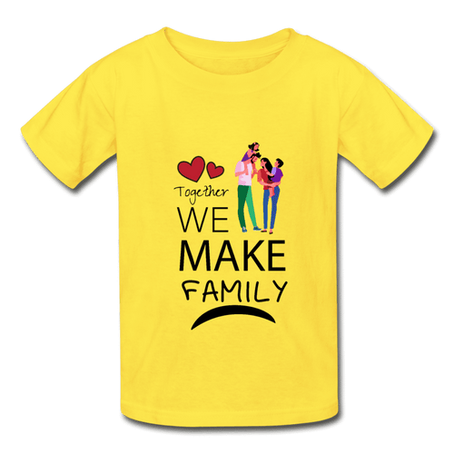 Hanes Youth Tagless T-Shirt = Together We Make Family - yellow
