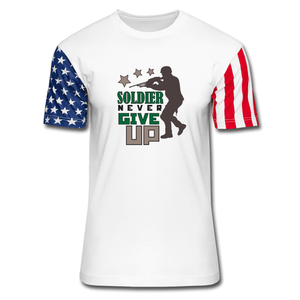 Stars & Stripes T-Shirt = Soldier Never Give Up - white