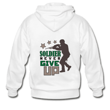 Gildan Heavy Blend Adult Zip Hoodie = Soldier Never Give Up - white