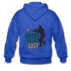 Gildan Heavy Blend Adult Zip Hoodie = Soldier Never Give Up - royal blue