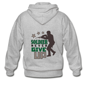 Gildan Heavy Blend Adult Zip Hoodie = Soldier Never Give Up - heather gray