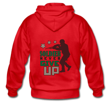 Gildan Heavy Blend Adult Zip Hoodie = Soldier Never Give Up - red