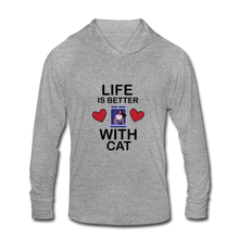 Unisex Tri-Blend Hoodie Shirt = life is better with cat - heather gray
