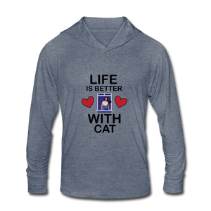 Unisex Tri-Blend Hoodie Shirt = life is better with cat - heather blue