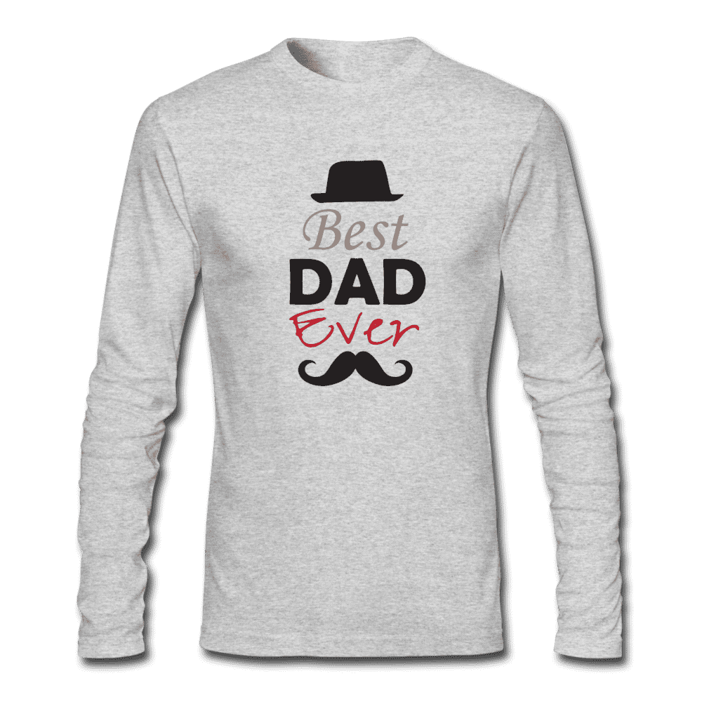 Men's Long Sleeve T-Shirt by Next Level = BAST DAD EVER - heather gray