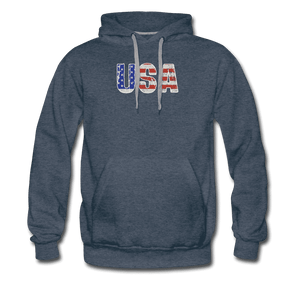 Men's Premium Hoodie = usa - heather denim