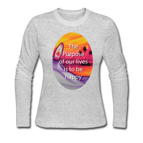Women's Long Sleeve Jersey T-Shirt = the purpose of our lives is to be happy - gray