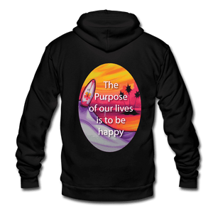 Unisex Fleece Zip Hoodie = the purpose of our lives is to be happy - black