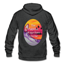 Unisex Fleece Zip Hoodie = the purpose of our lives is to be happy - charcoal gray