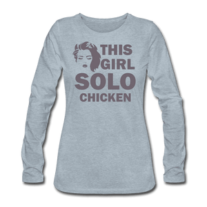 Women's Premium Long Sleeve T-Shirt = this girl solo chicken - heather ice blue