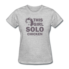 Women's T-Shirt = this girl solo chicken - heather gray