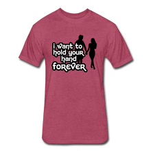 Fitted Cotton/Poly T-Shirt by Next Level = i want to hold your hand forever - heather burgundy