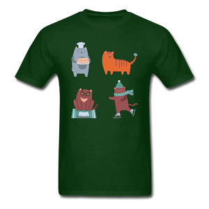 Unisex Classic T-Shirt = 4 cats - forest green
